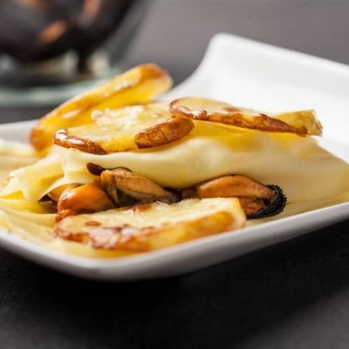 Lasagnetta al forno con cozze e patate